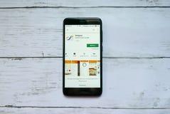BANDAR SERI BEGAWAN, BRUNEI - 21 JANVIER 2019 : Application de poulpe sur un Google Play Store androïde photographie stock libre de droits