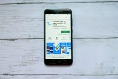 BANDAR SERI BEGAWAN, BRUNEI - 21 JANVIER 2019 : Application de Truecaller sur un Google Play Store androïde photographie stock libre de droits
