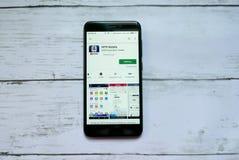 BANDAR SERI BEGAWAN, BRUNEI - 21 JANVIER 2019 : Application mobile de MTR sur un Google Play Store androïde images libres de droits