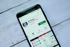 BANDAR SERI BEGAWAN, BRUNEI - 21 JANVIER 2019 : Application mobile de MTR sur un Google Play Store androïde photographie stock libre de droits