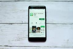 BANDAR SERI BEGAWAN, BRUNEI - 21 JANVIER 2019 : Bitmoji - votre application personnelle d'Emoji sur un Google Play Store androïde photographie stock