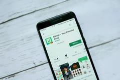 BANDAR SERI BEGAWAN, BRUNEI - 21 JANVIER 2019 : Bitmoji - votre application personnelle d'Emoji sur un Google Play Store androïde image libre de droits