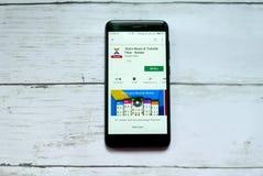 BANDAR SERI BEGAWAN, BRUNEI - 21 JANVIER 2019 : Dossiers de musique et de transfert de part - application de Xender sur Google Pl images stock