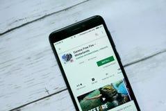 BANDAR SERI BEGAWAN, BRUNEI - 21 JANVIER 2019 : Le feu libre de Garena - application de Winterlands sur un Google Play Store andr photos stock