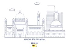 Bandar Seri miasta Begawan linia horyzontu, Brunei Obraz Royalty Free