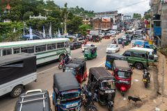 Bandarawela, Sri Lanka - April 11 2018: Noisy street of the second largest city in Badulla District. Bandarawela, Sri Lanka - April 11 2018: Noisy street of the Royalty Free Stock Photos