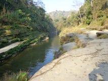 bandarban的多数美丽的小山河 免版税图库摄影