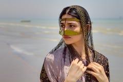 Bandari kvinna, Minab, sydliga Iran, Bandar Abbas, pro-Hormozgan Royaltyfri Bild