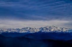 Bandarpunch and Kalanag Mountains. A view of Banderpunch mountain range from Nag tibba in dark sky Royalty Free Stock Images
