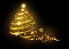Bandbaum des neuen Jahres im Licht lizenzfreie stockfotografie