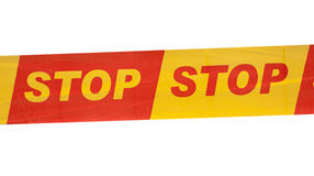 Bande avec le signe écrit d'ARRÊT Images stock