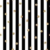 Bande in bianco e nero con la Polka Dots Seamless Pattern dell'oro royalty illustrazione gratis