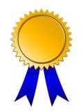 Bande bleue de médaille d'or Photographie stock libre de droits