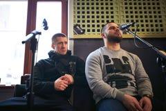 Bande Brutto de musique exécutant dans un studio d'enregistrement Images libres de droits