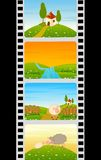 Bande colorée de film blanc avec des moutons Image libre de droits