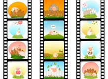 Bande colorée de film blanc avec des moutons Image stock