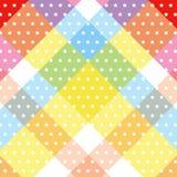 Bande croisée diagonale colorée douce blanche de modèle de point de polka d'étoile Image stock