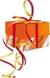 Bande d'or attachée d'enveloppe de cadeau de vacances Photographie stock libre de droits