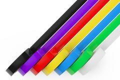 Bande d'isolation adhésive colorée différente rendu 3d Images stock