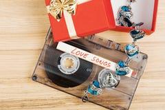 Bande de cassette sonore avec des chansons d'amour Photo stock