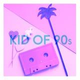 Bande de cassette sonore, chiffre de dinosaure, paume et enfant des textes de 90s Collage de concept de Millennials dans des coul photographie stock