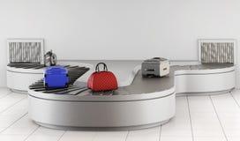 Bande de conveyeur à l'aéroport Retrait des bagages rendu 3d illustration stock
