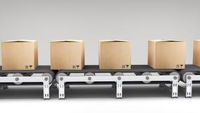 Bande de conveyeur avec des cartons Photo stock