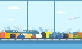 Bande de conveyeur dans l'aéroport illustration stock