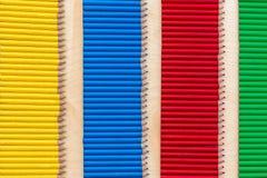 Bande de couleur quatre avec des crayons Photographie stock libre de droits