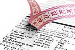 Bande de faits et de mesure de nutrition Photo stock