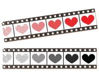 Bande de film avec des coeurs. Images libres de droits