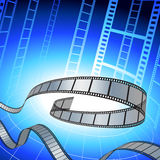 Bande de film sur le fond bleu Images libres de droits