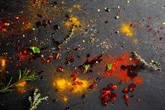 Bande de frottement et poudre et sauce de marinade sur le Tableau Photos libres de droits