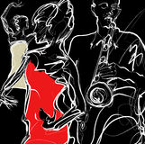 Bande de jazz avec des danseurs Images libres de droits