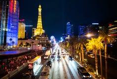 Bande de Las Vegas Nevada la nuit Photographie stock libre de droits