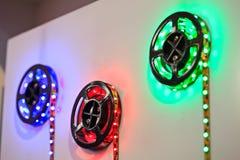 Bande de LED avec la LED rouge, verte et bleue Images libres de droits