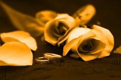 Bande de mariage de pétale de Rose images stock