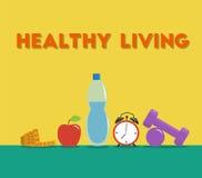 Bande de mesure, bouteille de l'eau, haltères, horloge et pomme sur le plancher Ensemble d'équipement de forme physique Illustrat Images libres de droits