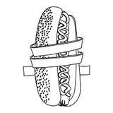 bande de mesure de silhouette autour de concept de nourriture de régime de hot-dog Photo stock