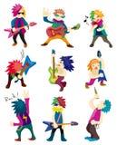 Bande de métaux lourds de musique rock de dessin animé Image stock