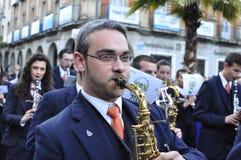 Bande de musique dans la paume dimanche Photo stock