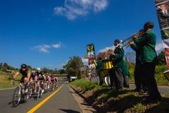 Bande de musique de cyclistes de chemin   Photos libres de droits