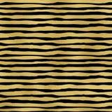 Bande della stagnola di oro su fondo nero Fotografia Stock Libera da Diritti