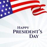 Bande delle stelle del nastro della bandiera americana del Day del testo dell'insegna di presidente felice su una bandiera americ illustrazione di stock