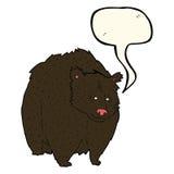 bande dessinée énorme d'ours noir avec la bulle de la parole illustration libre de droits