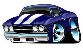 Bande dessinée américaine classique de voiture de muscle, bleu de cobalt profond, illustration de vecteur image libre de droits