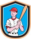 Bande dessinée américaine de bouclier de batte de joueur de baseball Images stock
