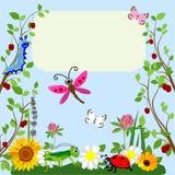 Bande dessinée animale d'insectes mignons en herbe et fleurs Illustration de vecteur illustration de vecteur