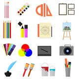 Bande dessinée Art Color Icons Set Vecteur illustration stock