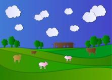 Bande dessinée Art Style Farm Field de papier de vecteur, Chambre de ferme et animaux, ciel nuageux illustration libre de droits